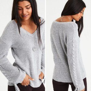 American Eagle Gray Laced Tie Sleeve Sweater